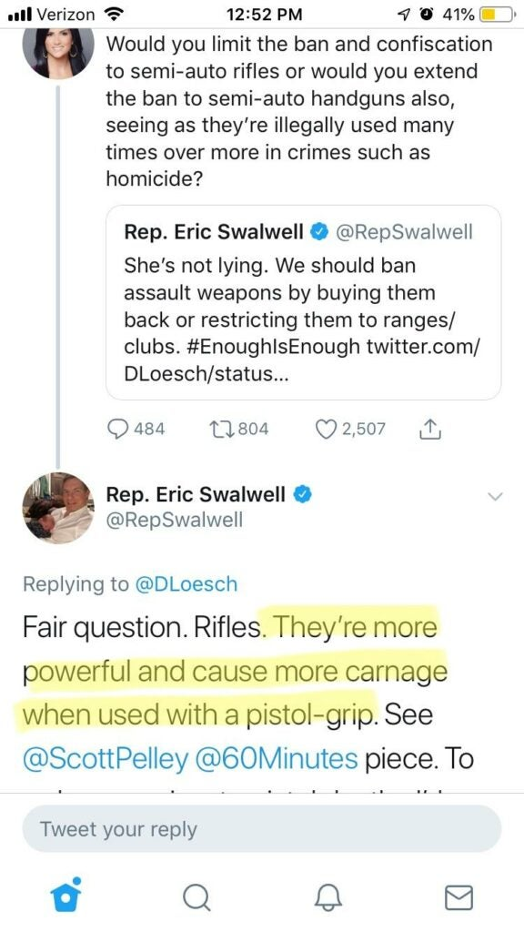 Swalwell expounding his knowledge of firearms in a Twitter conversation with Dana Loesch.