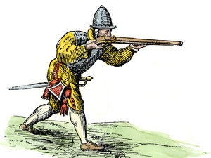 """The guns carried by Spanish Conquistadors were known as """"arquebus,"""" from a Dutch word meaning"""