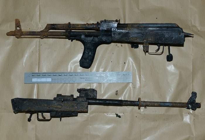 A shot of two recovered AK-47s.
