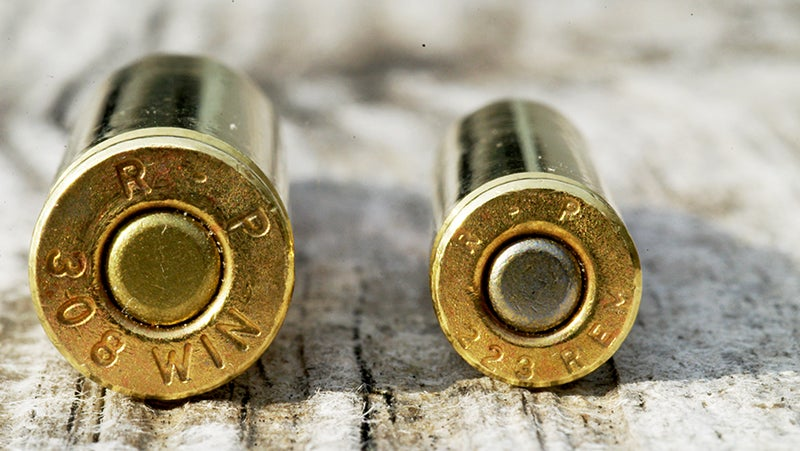 The advantages of the .308 Winchester over the .223 Remington in terms of power are obvious in the size difference.