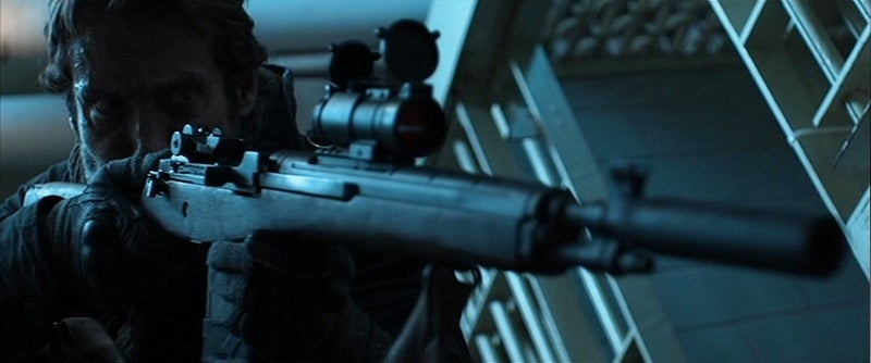 Strong usually grabs the magazine of his carbine as if it were a vertical foregrip.