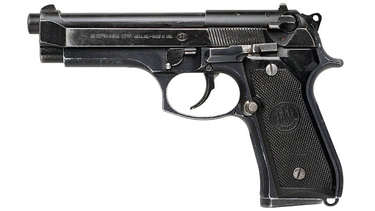 The screen-used Beretta 92F carried by McClane in *Die Hard*. Notice the extended slide stop, which was added at Willis' request.