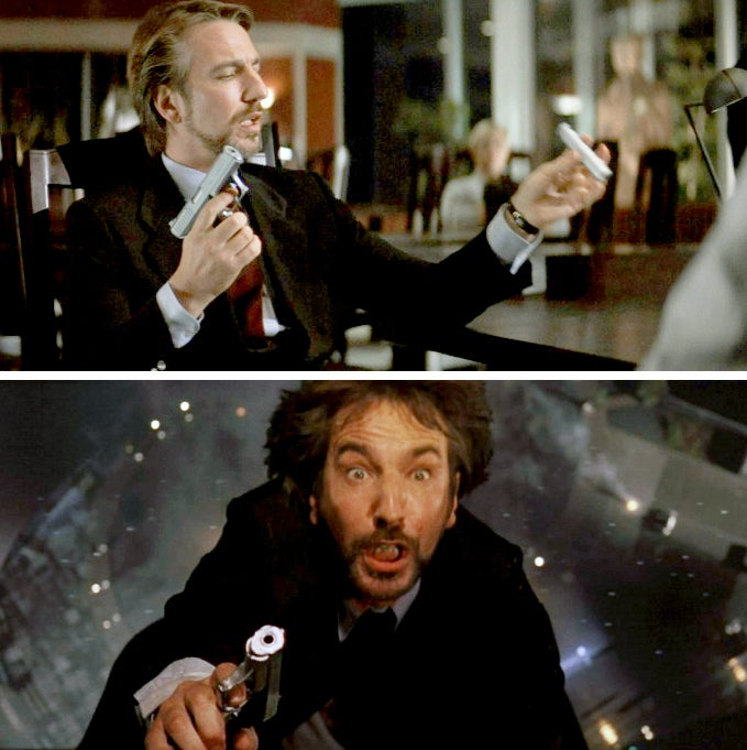 Hans Gruber (Alan Rickman) with his H&K P7M13 and matching suppressor (top), and a shot of the gun and Gruber's surprised face as he begins falling.
