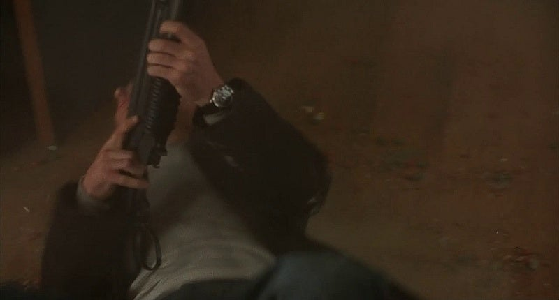 One Eyed Jack with the weird combo of a Winchester 1887 shotgun and an M203 40mm grenade launcher.
