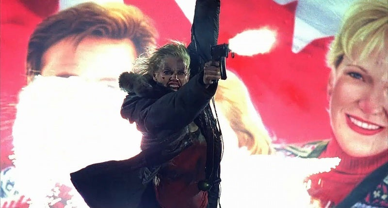 Toward the end of the movie, one of the henchmen Charly takes out is carrying an SA Vz. 61 Skorpion machine pistol. Charly takes the gun and uses it to shoot at a helicopter in a shot featured promine