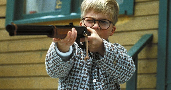 Ralphie about to shoot his eye out with a Daisy Red Ryder BB gun.