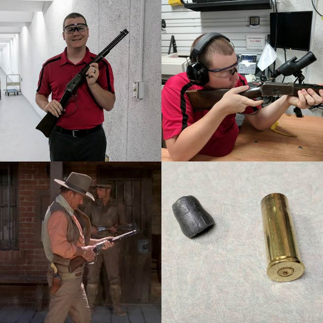 collage of logan metesh shooting a wayne carbine