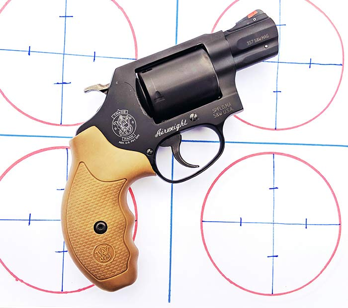 smith and wesson model 360 on a target board