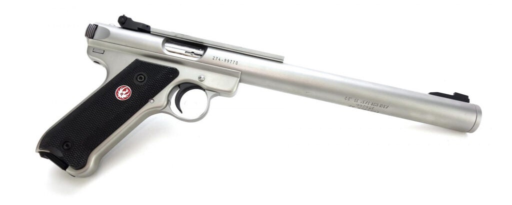 The AWC Amphibian S pistol is built on a Ruger Mark series pistol an is integrally suppressed.