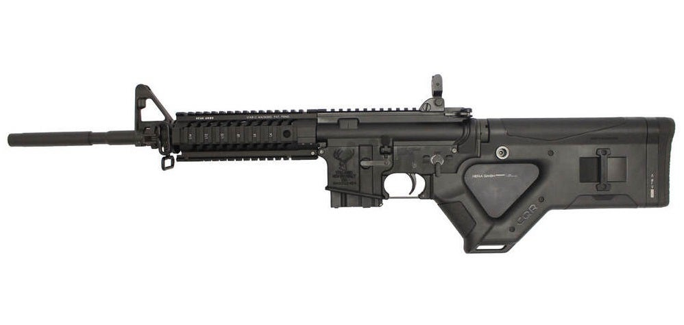 An AR-platform rifle with a 10-round magazine and other features that make it California compliant. If it were to have a pistol grip, the magazine would have to be permanently affixed.