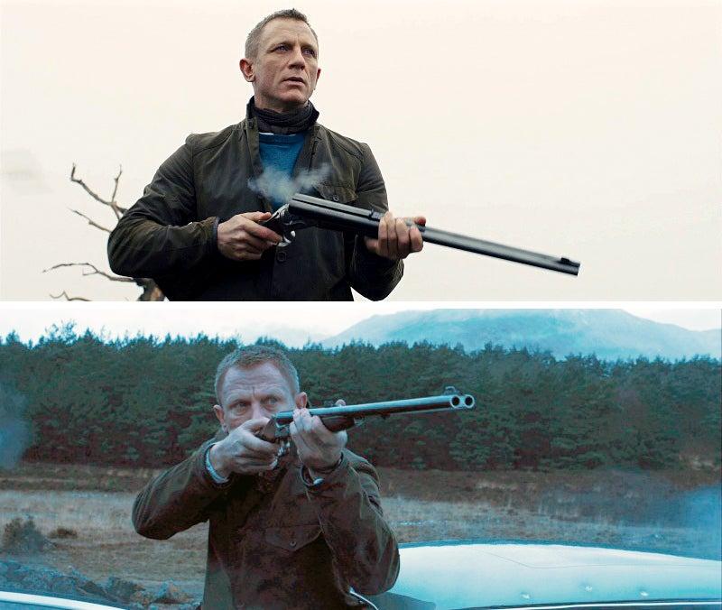 Bond with his father's Anderson Wheeler Double Rifle chambered in .500 Nitro Express. Craig's depiction of the gun's recoil is...less than accurate.
