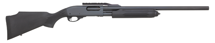 An example of a synthetic stocked model, this M870 has a fully rifled barrel and a cantilever scope mount.