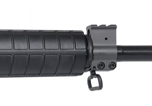 The gas block features a Picatinny rail section for a front iron sight and a sling swivel.