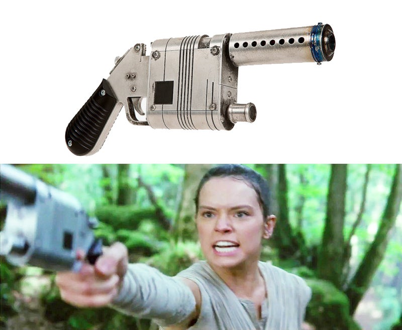 Rey gets her blaster from Han Solo in *The Force Awakens* and carries it through the next film, *The Last of the Jedi*.