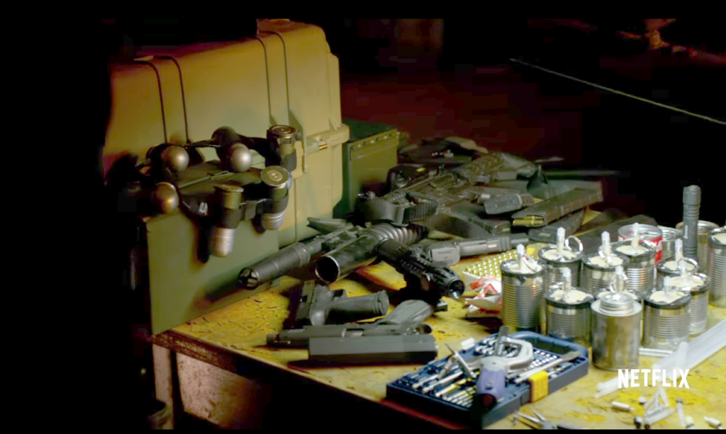 From the trailer, we see a table with a bunch of Frank Castle's gear.