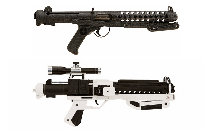While it was a prop made from scratch, the Stormtroopers' F-11D blasters are based on the Sterling SMG.