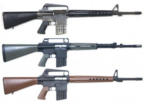 Three AR models: The rifle on the bottom is a