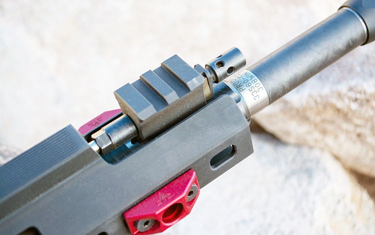 The gas system is adjustable with a positive click knob located just above the barrel and forward of the hand guard.