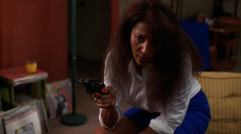 Jackie Brown with the Colt Detective Special she took from Max Cherry's car.