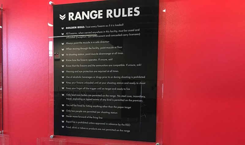 Nearly every range will have a list of rules like this posted somewhere prominent. Some will provide new shooters with a video tutorial on their first visit.
