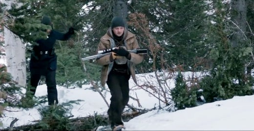 Corey shown cradling his Marlin 1895SBL rifle while running through the woods.