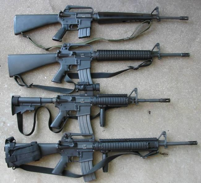 From top: an M16A1, an M16A2, an M4A1 carbine, and an M16A4.