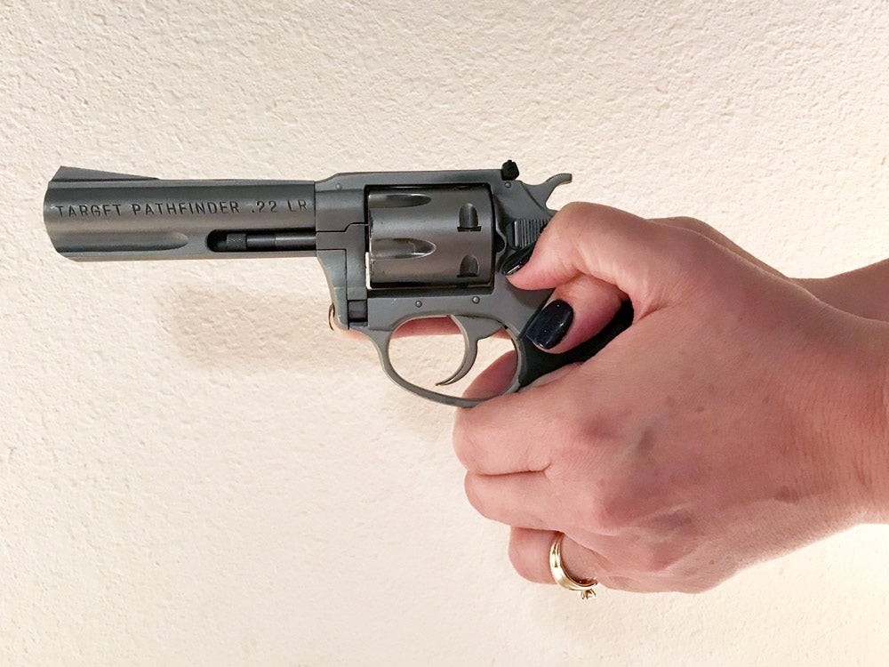 When gripping a revolver, keep your support thumb out of the way.