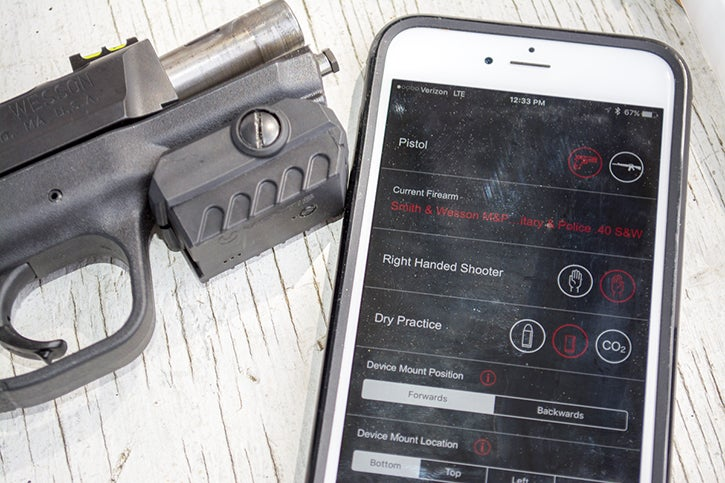 The Mantis X system consists of a small module that mounts virtually any gun with rail segment, which them communicates with a smartphone app.