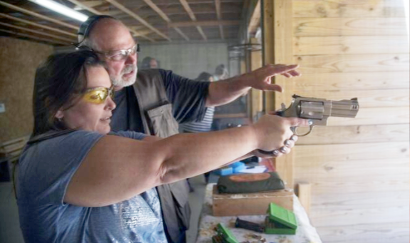After an extensive gun safety class with an NRA instructor, the attendees got a chance to try whatever they wanted, from big handguns to clay shooting.