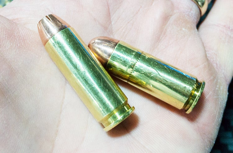 The .44 Auto Mag cartridges are made from cut-down and shaped .308 rifle cartridge cases (for strength) and topped with a .44 caliber projectile.