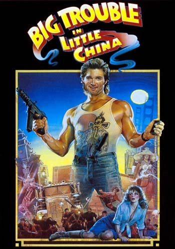 The poster for *Big Trouble in Little China*  shows Russell with his TEC-9 prominently.