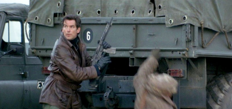 In a deleted scene, Bond pulls the broken-down rifle in pieces from his jacket and assembles it.