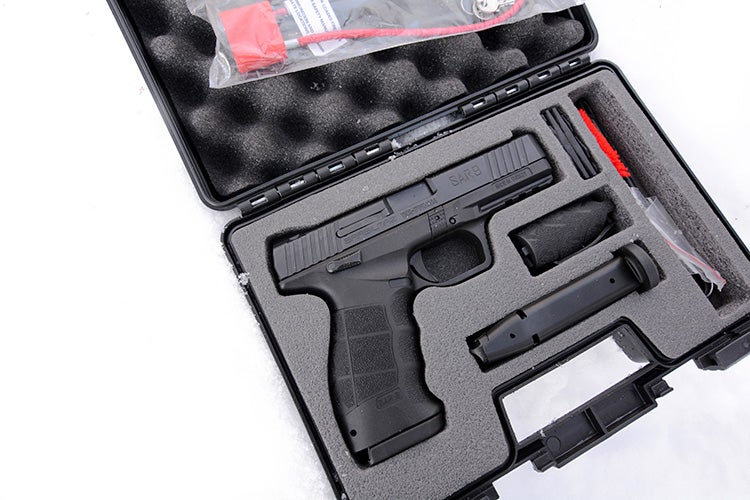 The Turkish-made SAR9 comes with two 17-round magazines, a tool kit, a cleaning kit, grip extensions, and a case.