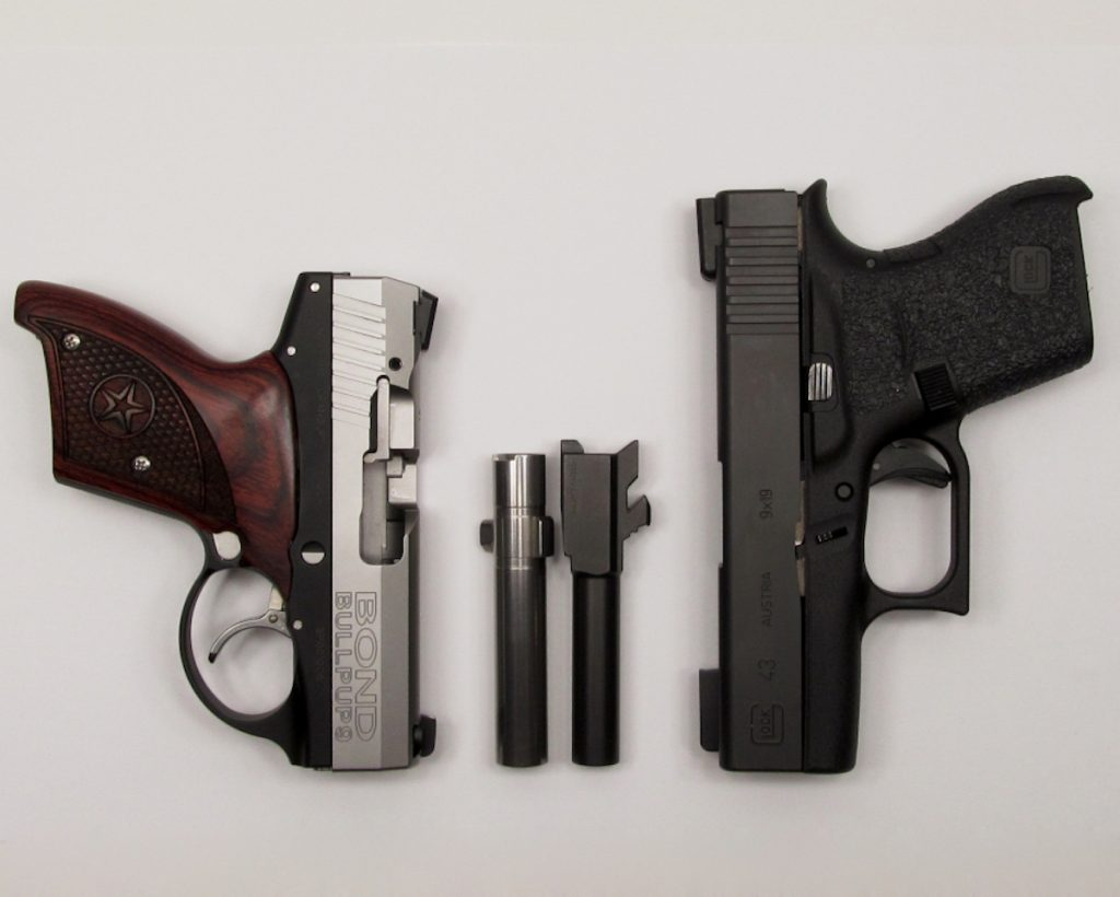 The BullPup9 compared to the subcompact Glock 43.