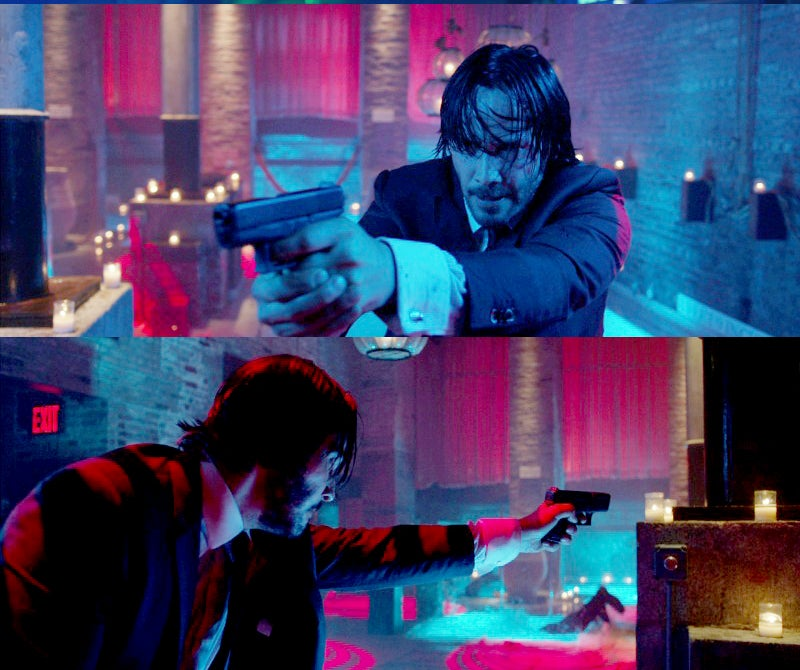 While he shoots right handed through the movie, Wick shoots his Glock 26 in one scene with just his left hand.