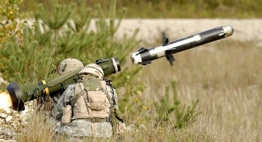 An FGM-148 Javelin missile being fired.