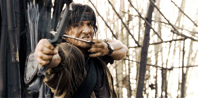 Rambo again uses a compound bow in one scene, but it's not the Hoyt from the previous films, but a vintage Martin Cougar II instead.