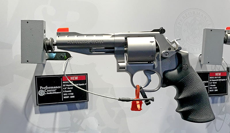 The new Smith & Wesson PC Model 686 with the new speed-release thumbpiece in .357 Magnum / .38 Special +P.