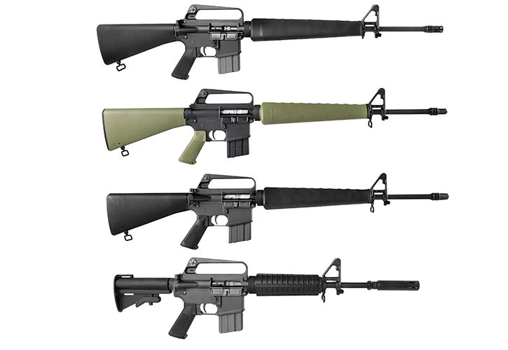 Brownells new Retro Rifle 5.56 throwback firearms (from top): the BRN-16A1, the BRN-601, the XBRN 16E1, and the XBRN-177E2.