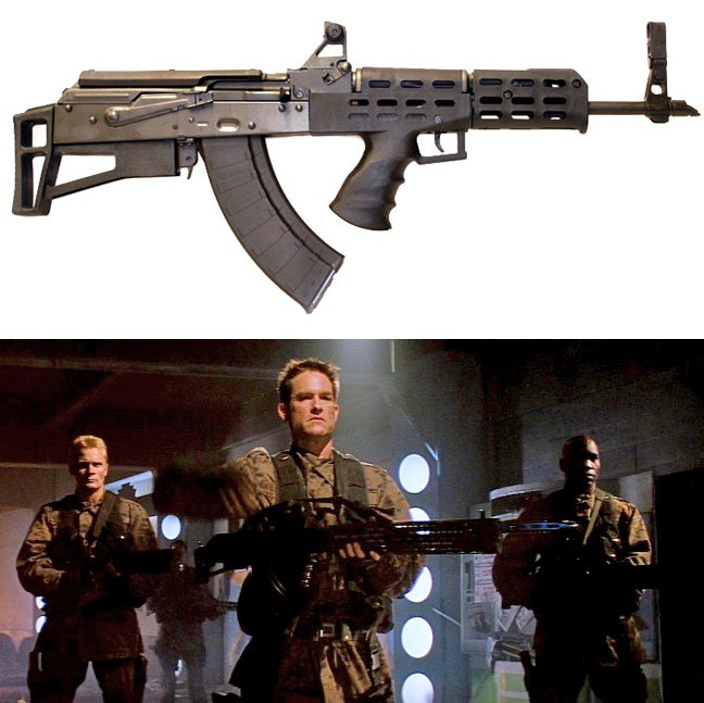The standard issue assault rifle in the movie is built on the AKU-94, which is a bullpup configuration of the AK platform.