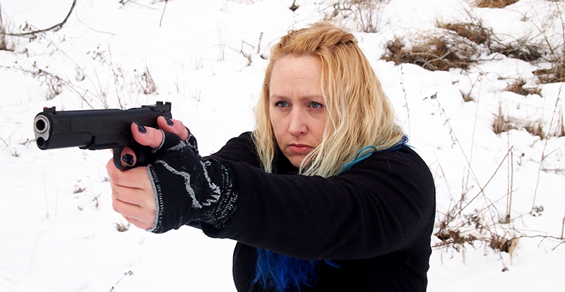 The author with her Remington R1 10mm Hunter pistol.