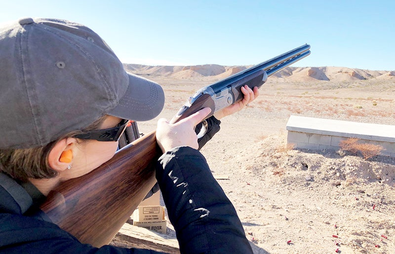 Another angle of one of Beretta's new Vittoria O/U shotguns, designed specifically for women.