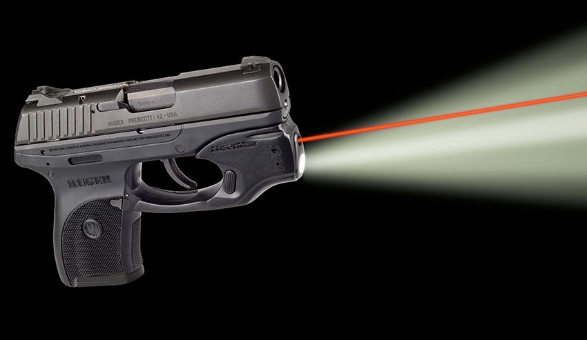 The combination aiming and illumination device is designed to turn on automatically as soon as you grip your gun.