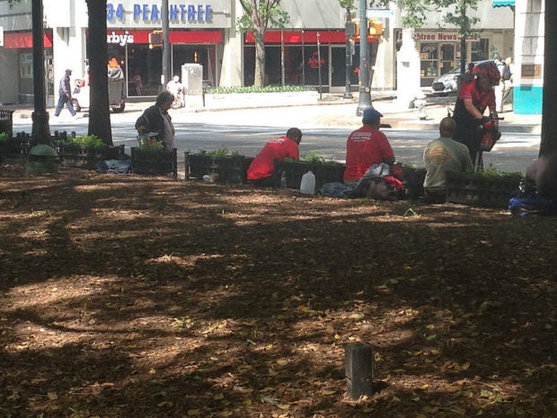 [Bob Owens of bearingarms.com says](https://bearingarms.com/bob-o/2017/04/29/everytown-rally-nra-fizzles-atlanta/) this is a photo of homeless people in the park where the protest was held who were gi