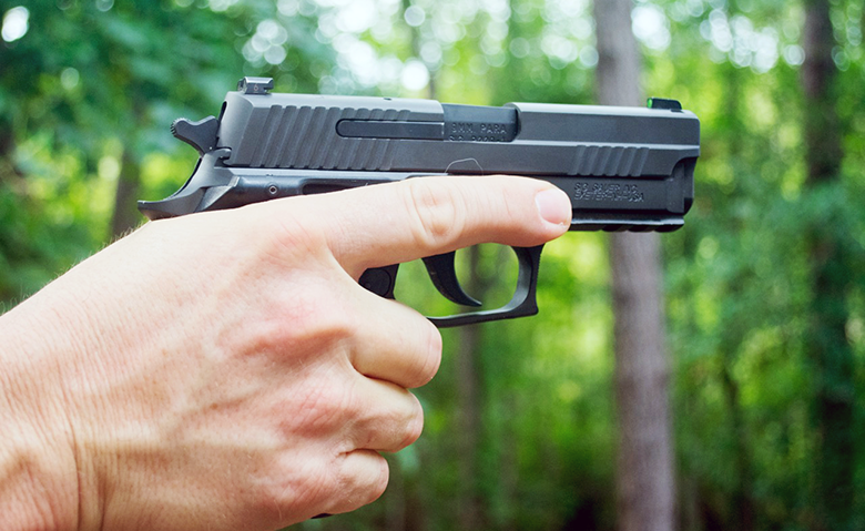 Good trigger finger discipline is not only safe, it's polite. Keeping your finger like this when you're not actively shooting signals your safety habits to other shooters on the line.