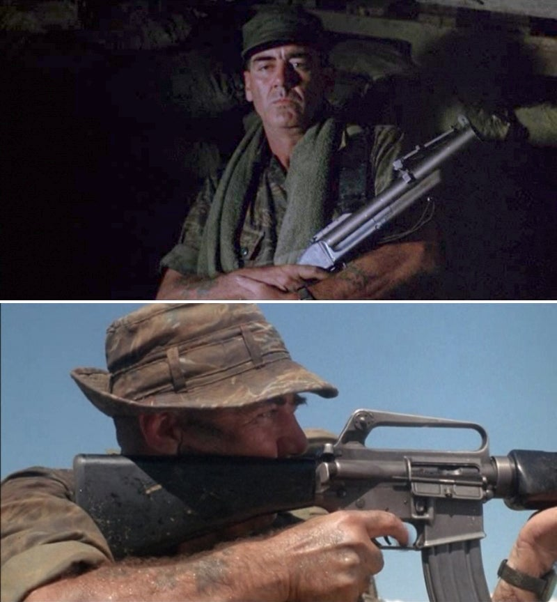 In *The Siege of Firebase Gloria*, Ermey uses an M16A1 and an M79 grenade launcher.
