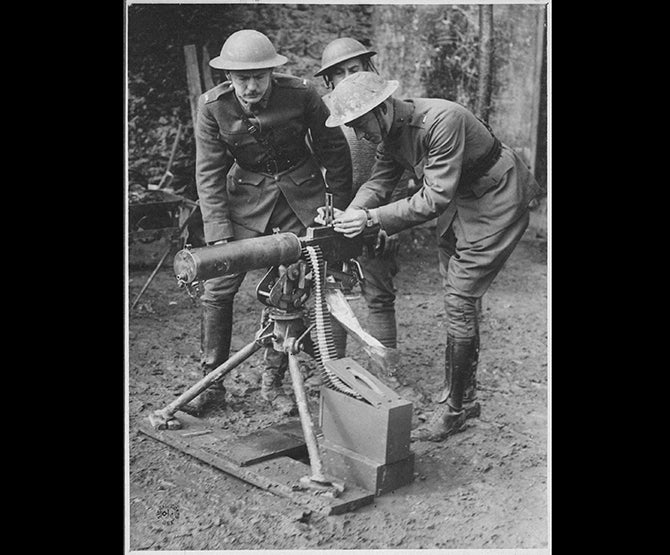Val Browning, the inventor's son, demonstrates the M1917.