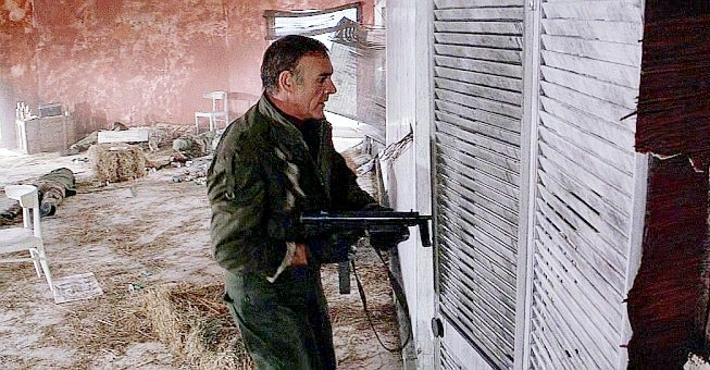 Bond uses a Czech Sa.25 submachine gun in the opening sequence, which turns out to be a training test.