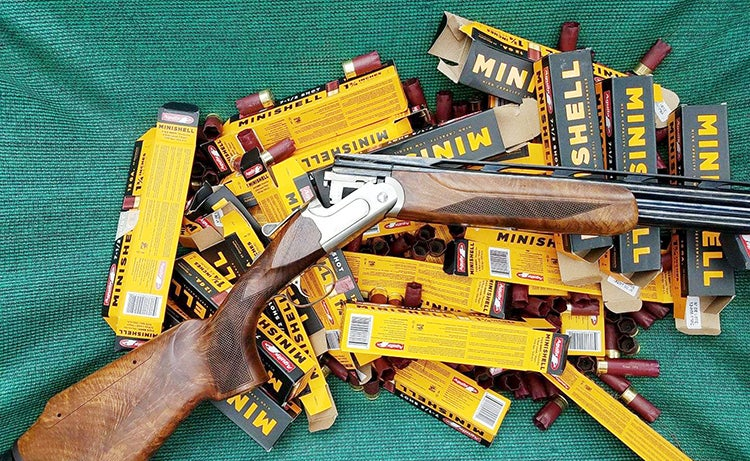 Over Unders will shoot any ammunition, including these Aguila Minishells, which won't cycle in an autoloader and will jam many pumps without an adapter, like the OpSol MiniClip made for Mossberg 500 s