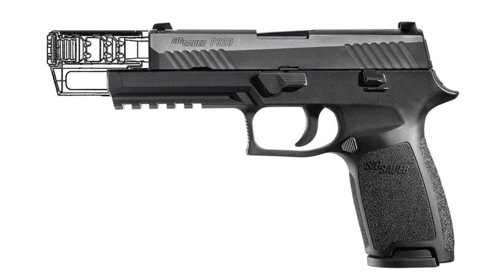 A composite image created by *Recoil* magazine providing a better idea of what an integrally suppressed SIG P320 would look like.
